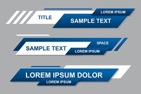 Modern geometric lower third banner template design. Colorful lower thirds set template vector. Modern, simple, clean design style Vektoros illusztráció