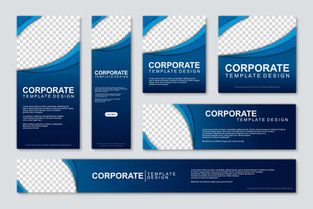 Set of modern web banners template design with a place for photos. Modern and minimalist concept user for web page, banner, background. Vector illustration