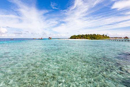 Panoramic view of an Atoll, from one of the water villages, Maldives Stock Photo