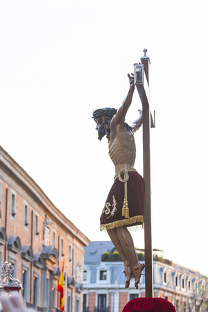 viernes santo: Following the Spanish tradition, this is the annual parade  procession of Christ of the Halberdiers Holy Week in Madrid, Spain, April 13th 2017.