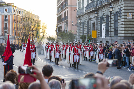 Following the Spanish tradition, this is the annual parade  procession of Christ of the Halberdiers Holy Week in Madrid, Spain, April 13th 2017.