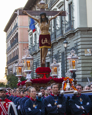 Christ of the Alabarderos, in the procession of Holy Week in Madrid, April 13th, 2017
