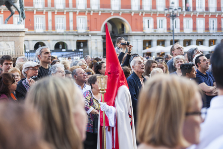 Following the Spanish tradition, this is the annual parade or procession of Jesus the Captive, Holy Week in Madrid, Spain, April 13th, 2017
