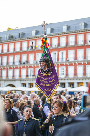 viernes santo: Following the Spanish tradition, this is the annual parade or procession of Jesus the Captive, Holy Week in Madrid, Spain, April 13th, 2017