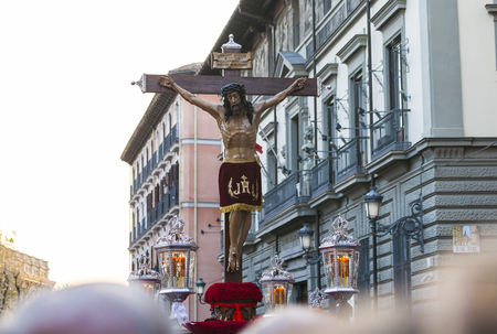 viernes santo: Following the Spanish tradition, this is the annual parade  procession of Christ of the Halberdiers Holy Week in Madrid, Spain 2017.