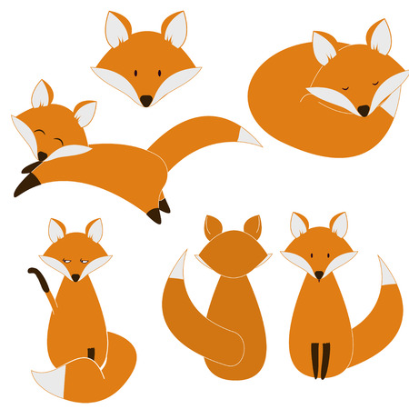 Cute fox set. vector eps8