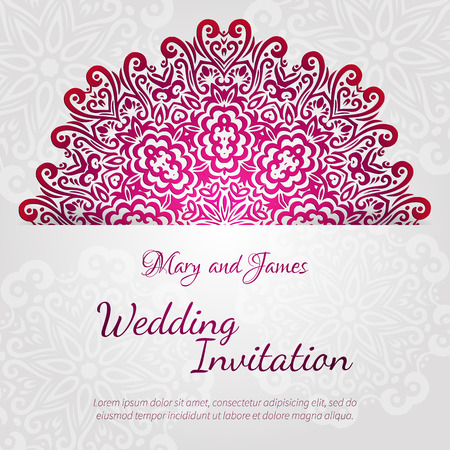 woman shower: Lacy vector wedding card template  Romantic vintage wedding invitation  Abstract circle floral ornament  Good for birthday invitation or baby shower invitation  ethnic design