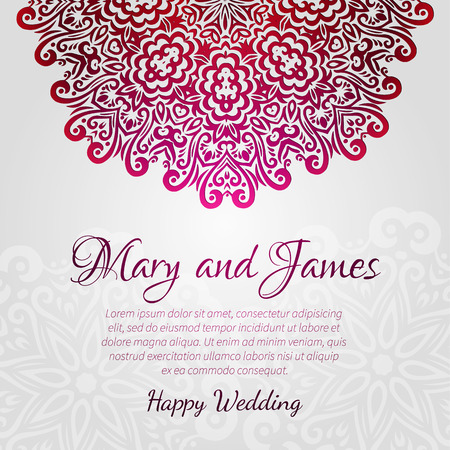 Lacy vector wedding card template  Romantic vintage wedding invitation  Abstract circle floral ornament  Good for birthday invitation or baby shower invitation  ethnic design Vector