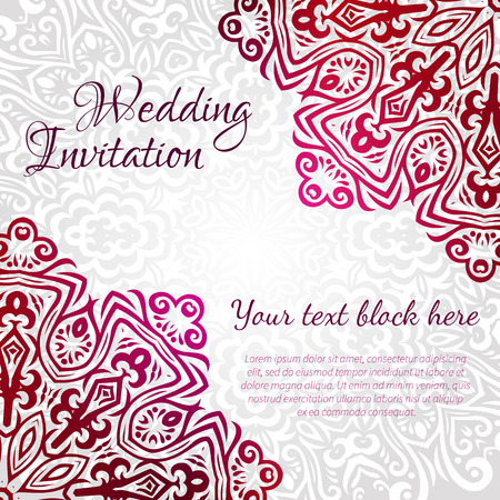 Lacy vector wedding card template  Romantic vintage wedding invitation  Abstract circle floral ornament  Good for birthday invitation or baby shower invitation  ethnic design