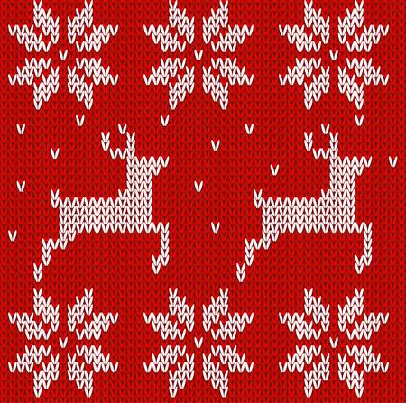 sueter: Suéter con ciervos. De punto ciervos fondo sin fisuras y adornos noruegos vector illustartion