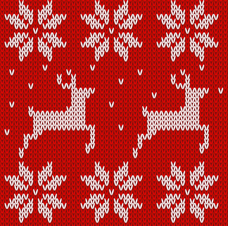 red deer: Sweater with deers. Knitted seamless background  deers and Norwegian ornaments vector illustartion