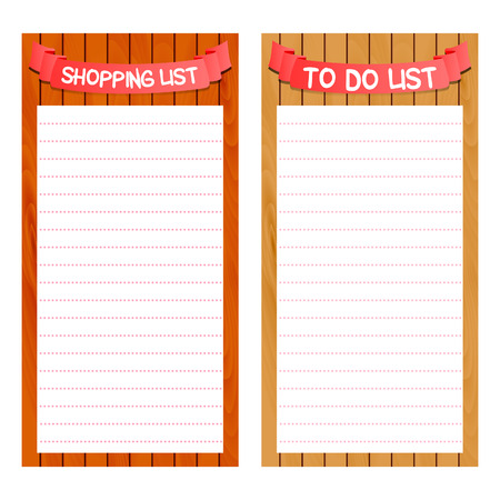 shopping and to do list template vector