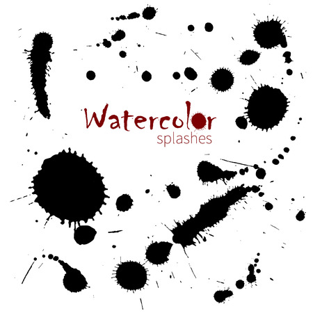 ink spot: Watercolor splatters. Isolated vector splashes. vector illustration Illustration