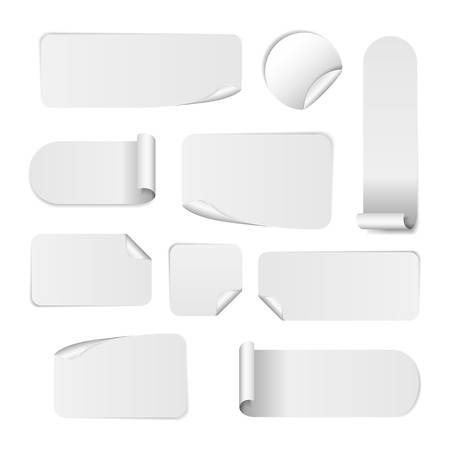 Set Of Blank white paper stickers on white background. Round, square and rectangular stickers. Vector illustration Vectores
