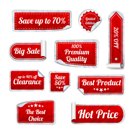 sticker: Set Of red crumpled paper SALE stickers on white background. Round, square and rectangular stickers. Vector illustration