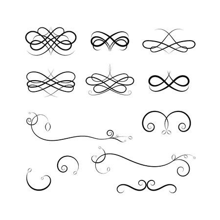 separator: Calligraphic elements on white background. Vector black design illustration