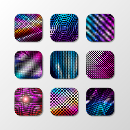 vivid colors: Vector Fashion Disco Icon. Abstract geometric Disco icons for your app with square mosaic in bright colors.