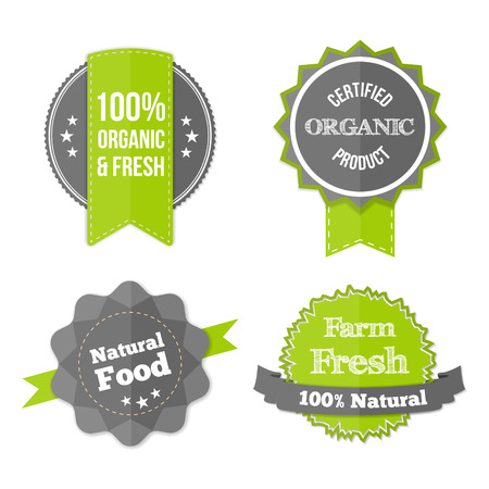 Set of Fresh Organic Labels and Elements. Vector farm green stickers