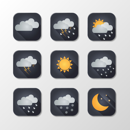 moon shadow: Weather vector icons. Flat design. Perfect for app