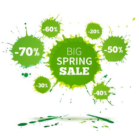 Big modèle de conception de l'affiche du Printemps de vente. Aquarelle illustration vectorielle Banque d'images - 38943103