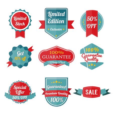 etiqueta: Conjunto de pegatinas de venta sobre fondo blanco. Banners y etiquetas. Ilustración vectorial