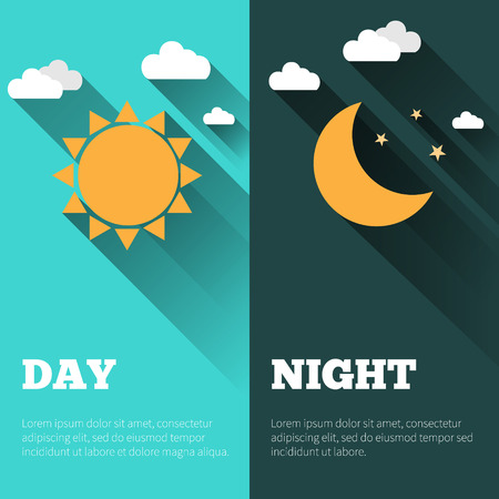 long night: Sun, moon and stars. Day and night vector banners isolated