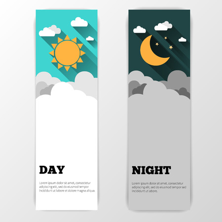 night sky: Sun, moon and stars. Day and night vector banners isolated