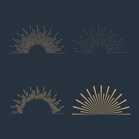 Set of gold vintage linear sunbursts. Vector illustration Illustration