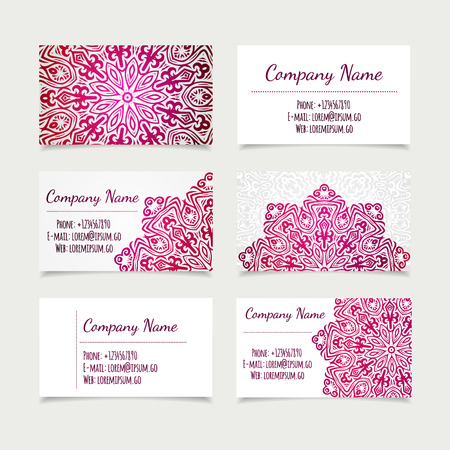 Set of retro business card templates with mandala vector set of retro business card templates with mandala vector illustration office collection vector stopboris Gallery