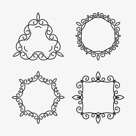 Set of elegant monogram design. Vector illustration isolated on white