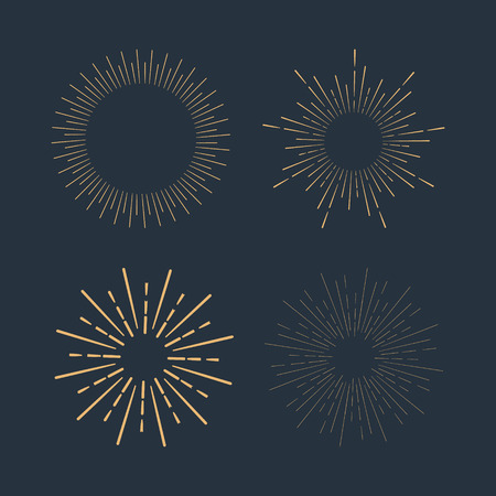 light burst: Set of gold vintage linear sunbursts. Vector illustration Illustration