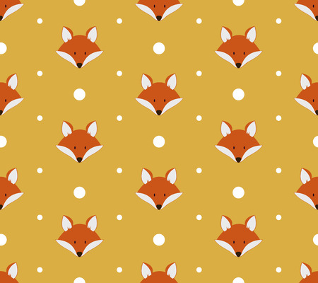 Seamless pattern with cute foxes. Vector illustration Çizim