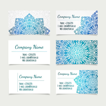 set of retro business card templates with mandala, vector illustration. office collection.