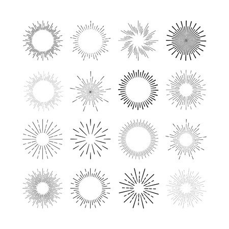 Set of vintage linear sunbursts. Vector illustration