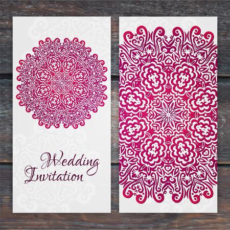bodas de plata: Lacy plantilla de tarjeta de boda vector. Invitación de la boda romántica de época. Círculo abstracto adornos florales. Bueno para la invitación del cumpleaños o invitación baby shower. diseño étnico
