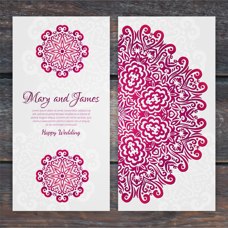 Lacy vector wedding card template. Romantic vintage wedding invitation. Abstract circle floral ornament. Good for birthday invitation or baby shower invitation. ethnic design