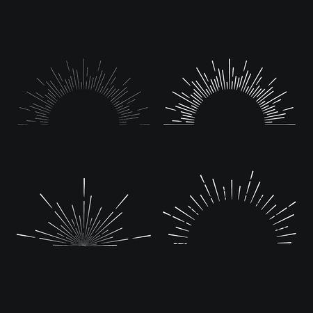 Set of vintage linear sunbursts. Vector illustration