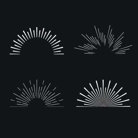 the shine: Set of vintage linear sunbursts. Vector illustration
