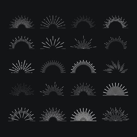 Jogo dos sunbursts lineares do vintage. Ilustração do vetor
