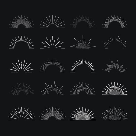ray light: Set of vintage linear sunbursts. Vector illustration