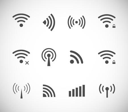 Set of different black vector wireless and wifi icons for remote access and communication via radio waves Vectores