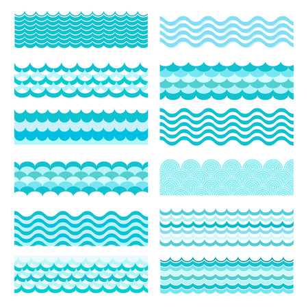 Collection of marine waves. Sea wavy, ocean art water design. Vector illustration Vettoriali