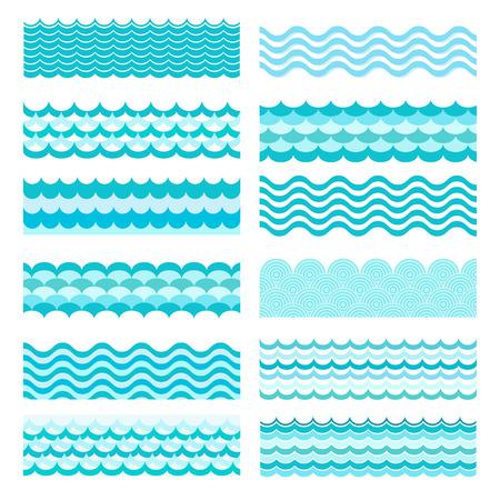 Collection of marine waves. Sea wavy, ocean art water design. Vector illustration Illustration