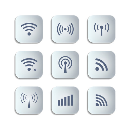wifi access: Set of different black vector wireless and wifi buttons for remote access and communication via radio waves