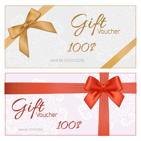 gold bow: Voucher template with floral pattern, border, red and gold bow and ribbons. Design usable for gift coupon, voucher, invitation, certificate, diploma, ticket etc. Vector illustration