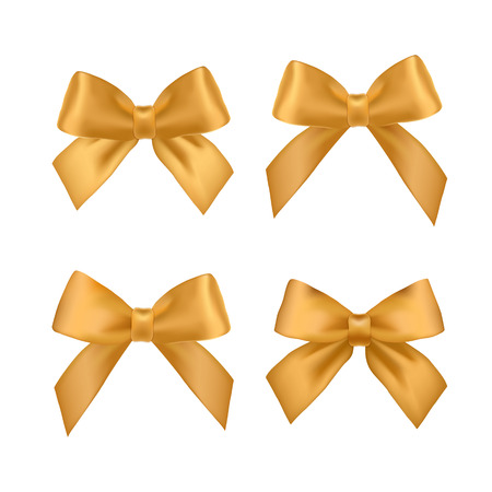 Big set of gold gift bows with ribbons. Vector illustration. Vectores