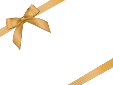 Shiny holiday gold satin ribbon on white background. Vector