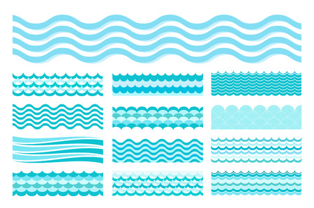 Collection of marine waves. Sea wavy, ocean art water design. Vector illustration Illustration