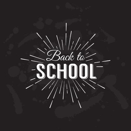 school: Back to School Calligraphic Designs Label On Chalkboard. Retro Style Elements. Vintage Vector Illustration