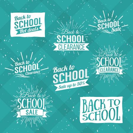 niños con pancarta: Volver a la Escuela Tipográfica - Estilo vintage Volver a Hot Deals Escuela Diseño Layout en formato vectorial